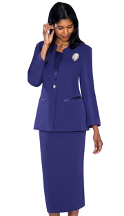 G13273-PUR ( 3pc PeachSkin GMI Church And Choir Suit ) <b> ( Each Suit Includes Free Pair Of White Gloves )</b>