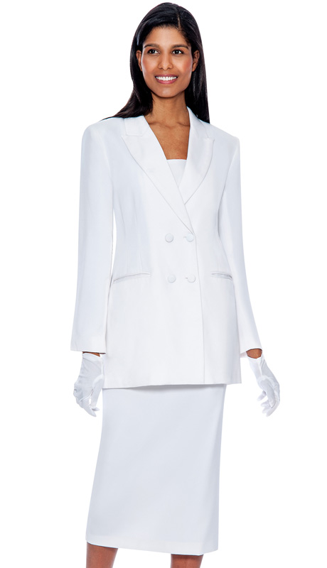 G12269-WH ( 3pc PeachSkin GMI Church And Choir Suit ) <b> ( Each Suit Includes Free Pair Of White Gloves )</b>