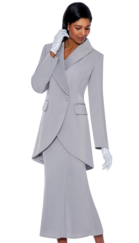 G2876-SIL ( 3pc PeachSkin GMI Church And Choir Suit ) <b> ( Each Suit Includes Free Pair Of White Gloves )</b>
