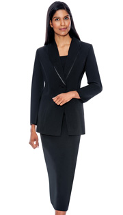 G12272-BLK ( 3pc PeachSkin GMI Church And Choir Suit ) <b> ( Each Suit Includes Free Pair Of White Gloves )</b>