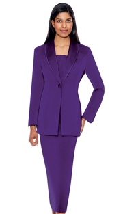 G12272-PUR  ( 3pc PeachSkin GMI Church And Choir Suit ) <b> ( Each Suit Includes Free Pair Of White Gloves )</b>