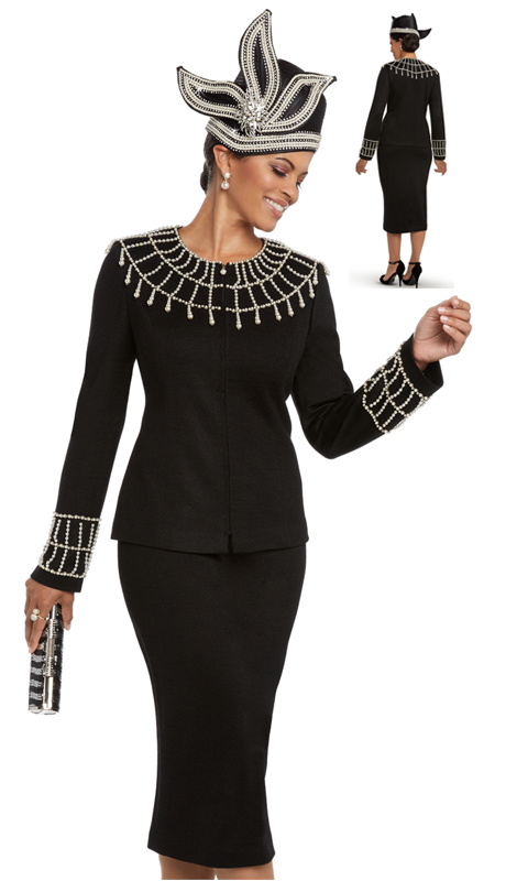 Donna Vinci 13200 ( 2pc Exclusive Knit Skirt Suit For Church With Elaborate Rhinestone And Pearl Trims )