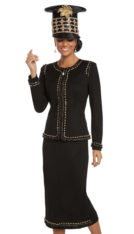 Donna Vinci 13221 ( 2pc Exclusive Knit Church Suit With Novelty Black Trims, Chains, And Pearls )