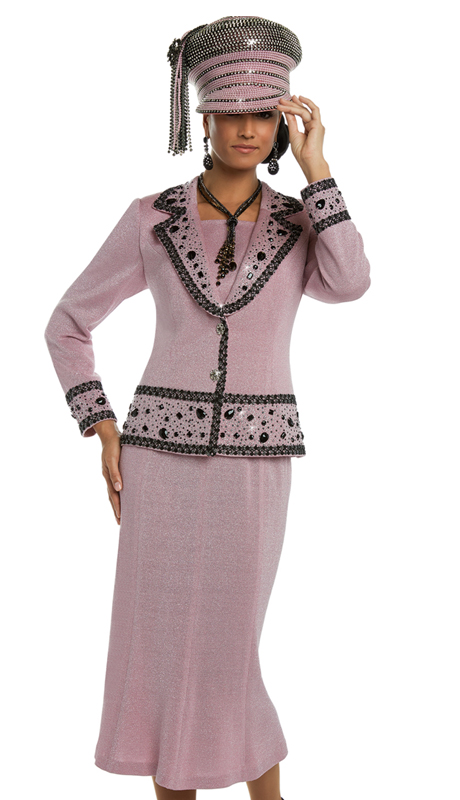 Donna vinci 13223 ( 2pc Exclusive Silver Knit Skirt Suit For Church With Black Trims And Black And Silver Rhinestones )-hat
