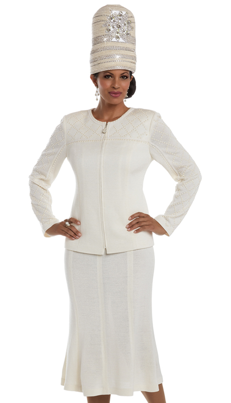 Donna Vinci 13207 ( 2pc Exclusive Knit Church Suit With Pearl Trims )