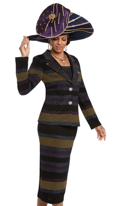 Donna Vinci 13210 ( 2pc Exclusive Knit Jacquard Women's Suit With Gold Stones And Buttons )