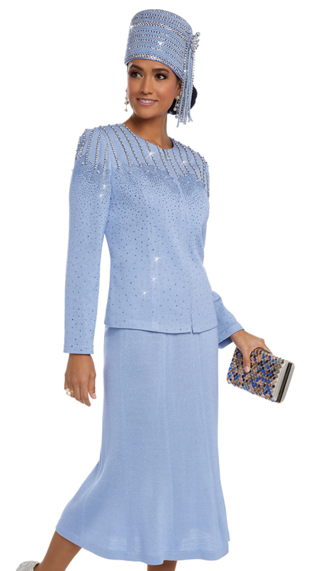 Donna Vinci 13219 ( 2pc Exclusive Knit Women's Suit With Elaborate Rhinestones, Trimmed With Pearls )