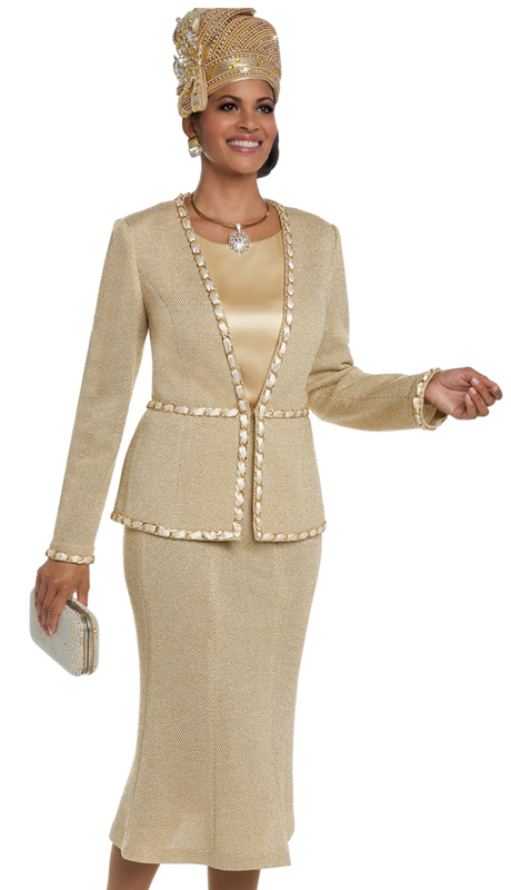 Donna Vinci 13217 ( 3pc Exclusive Gold Jacquard Knit Women's Sunday Suit With Gold Trims On Edges )