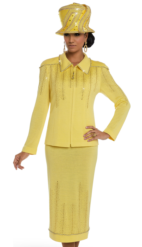 Donna Vinci 13214 ( 2pc Exclusive Knit Suit For Church With Elaborate Yellow Rhinestones )