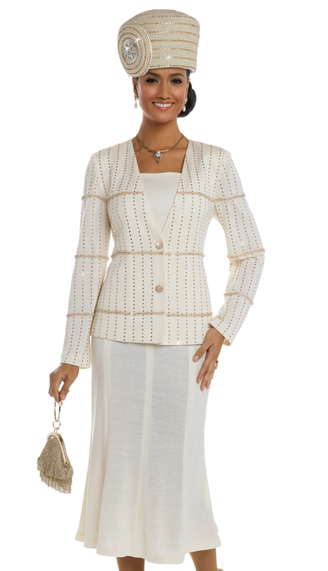 Donna Vinci 13212 ( 2pc Exclusive Knit First Lady Church Suit With Elaborate Gold Rhinestone Trims And Buttons )
