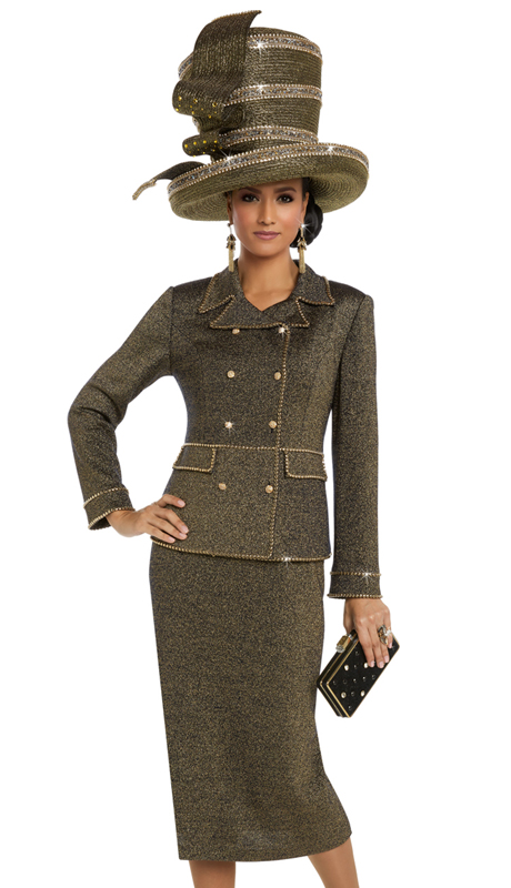 Donna Vinci 13220 ( 2pc Exclusive Gold Knit Ladies Suit With Gold Trims And Rhinestone Buttons )