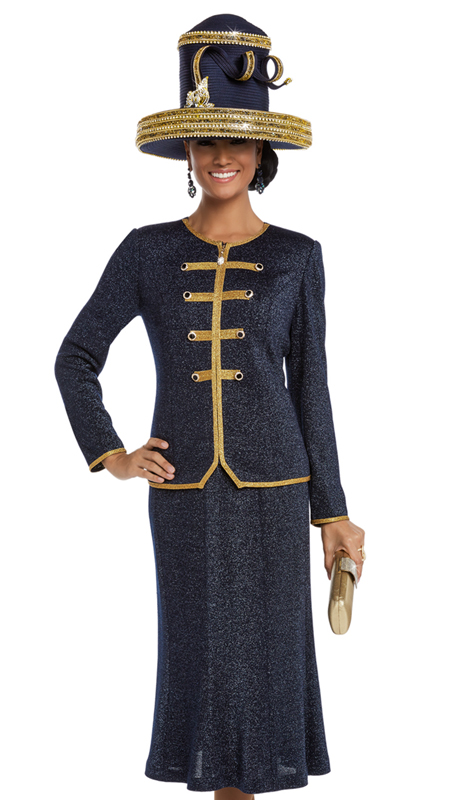 Donna Vinci 13222 ( 2pc Exclusive Knit Women's Church Suit With Gold Trims And Buttons )