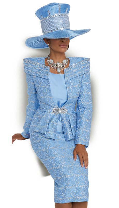 Donna Vinci 5592 ( 3pc Exclusive Novelty Women's Suit With Rhinestone Trims And Buckle )
