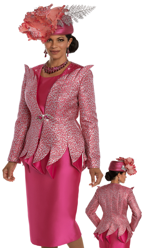 Donna Vinci 5591 ( 3pc Exclusive Novelty Ladies Suit Trimmed With Fuchsia And Clear Rhinestones And A Beautiful Rhinestone Buckle )