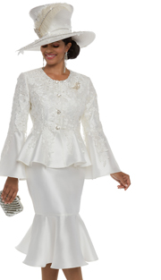 Donna Vinci 5594 ( Silk Skirt Suit For Church With Guipure Lace Front And Back With Rhinestone Trims And Buttons And Detachable Broach )