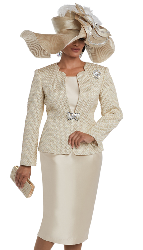 Donna Vinci 5597 ( 3pc Exclusive Novelty And Silk First Lady Church Suit With Rhinestone Buckle And Detachable Broach )