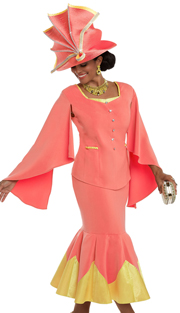 Donna Vinci 11565 ( 2pc Exclusive Peach Skin Ladies Church Suit With Braided Satin Trim And Rhinestone Buttons)