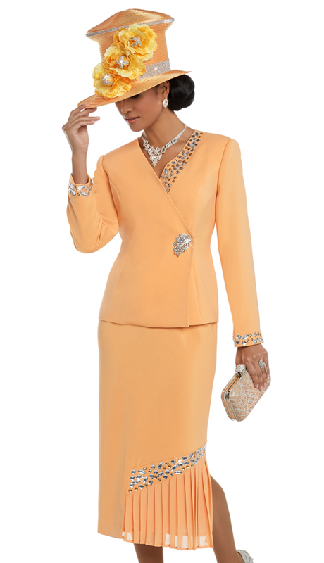 Donna Vinci 11616 ( 2pc Exclusive Peach Skin Women's Suit With Apricot And Silver Rhinestones And A Beautiful Buckle )