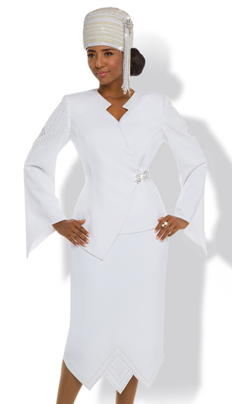 Donna Vinci 11622 ( 2pc Exclusive Reach Skin Fabric First Lady Church Suit With Trimmed With Beautiful Pearls And A Rhinestone Buckle )