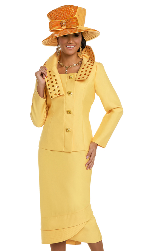 Donna Vinci 11621 ( 2pc Silk Women's Church Suit With Large Rhinestone Trims And Buttons )