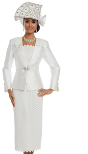 Donna Vinci 11630 ( 3pc Silk Women's Sunday Suit With Guipure Lace And A Beautiful Rhinestone Buckle )