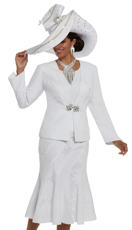 Donna Vinci 11629 ( 3pc Crepe Fabric Ladies Suit With Novelty Trims On Jacket, Skirt Front And Back, And A Beautiful Rhinestone Buckle )