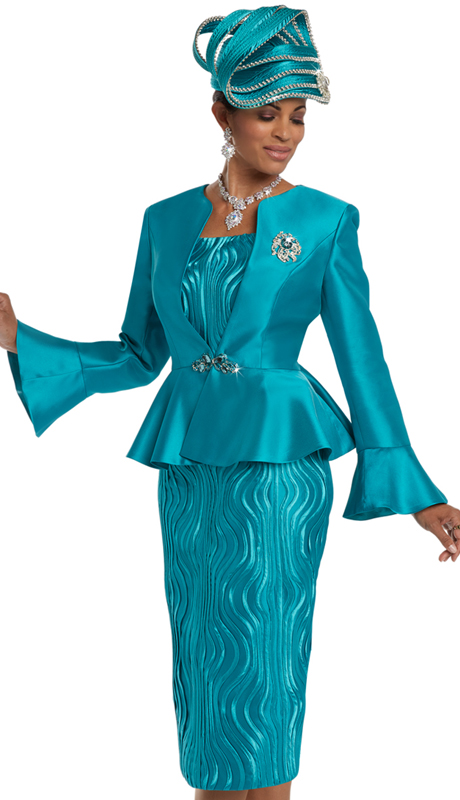 Donna Vinci 11632 ( 3pc Silk Women's Church Suit With Elaborate Inset Strapping, A Rhinestone Buckle, And A Detachable Broach )