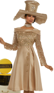 Donna Vinci 11636 ( 1pc Silk And Novelty Gold Sequenced Church Dress Trimmed With Rhinestone Buttons )