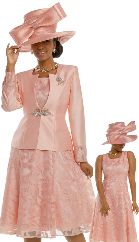 Donna Vinci 11635 ( 2pc Silk And Embroidered Novelty Dress For Church With A Rhinestone Buckle And Detachable Broach )