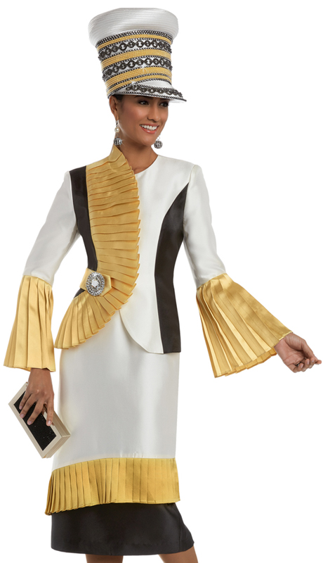Donna Vinci 11639 ( 2pc Silk Women's Sunday Suit With An Elaborate Rhinestone Broach )