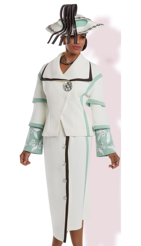 Donna Vinci 11638 ( 2pc Exclusive Poly Stretch Women's Sunday Suit With Elaborate Sleeves Embroidery, Beads, And Rhinestones )