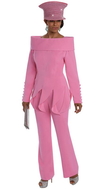 Donna Vinci 11637 ( 2pc Exclusive Peach Skin Women's Sunday Suit )