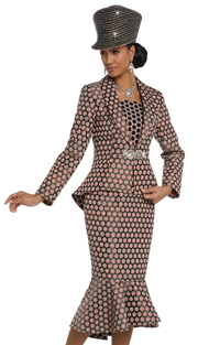 Donna Vinci 5582 ( 2pc Exclusive Novelty Ladies Church Suit With A Beautiful Rhinestone Buckle )