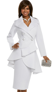 Donna Vinci 11645 ( 2pc Exclusive Light Scuba Knit Suit For Church With Pearl And Rhinestone Buttons )