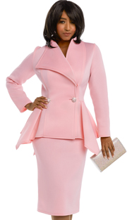 Donna Vinci 11644 ( 2pc Exclusive Light Scuba Knit Church Suit With Pearl And Rhinestone Buttons )