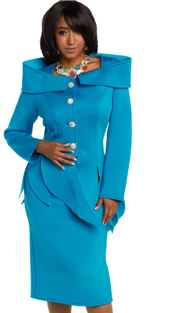 Donna Vinci 11648 ( 2pc Exclusive Light Scuba Knit Women's Church Suit Trimmed With Beautiful Rhinestone Buttons )