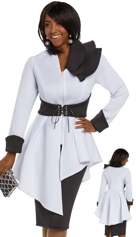 Donna Vinci 11649 ( 2pc Exclusive Light Scuba Knit Skirt Suit For Church Trimmed With A Rhinestone Zipper And Trapunto Stitching On Black Fabrics )