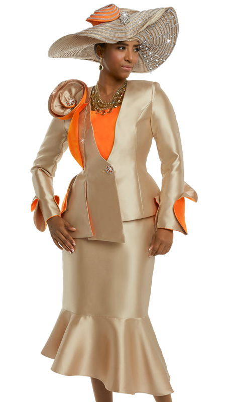 Donna Vinci 11652 ( 2pc Silk Skirt Suit For Church With Large Rhinestone Buttons And Trims )