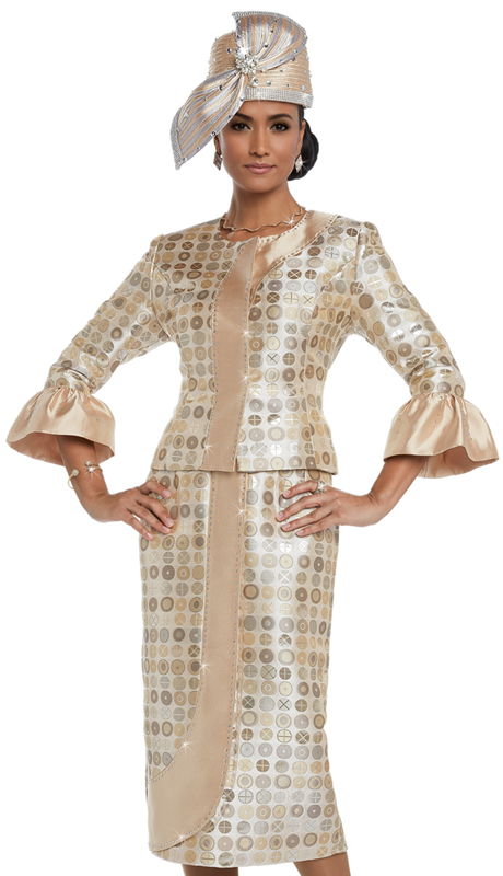 Donna Vinci 5587 ( 2pc Exclusive Novelty Women's Suit With Rhinestone Trims )