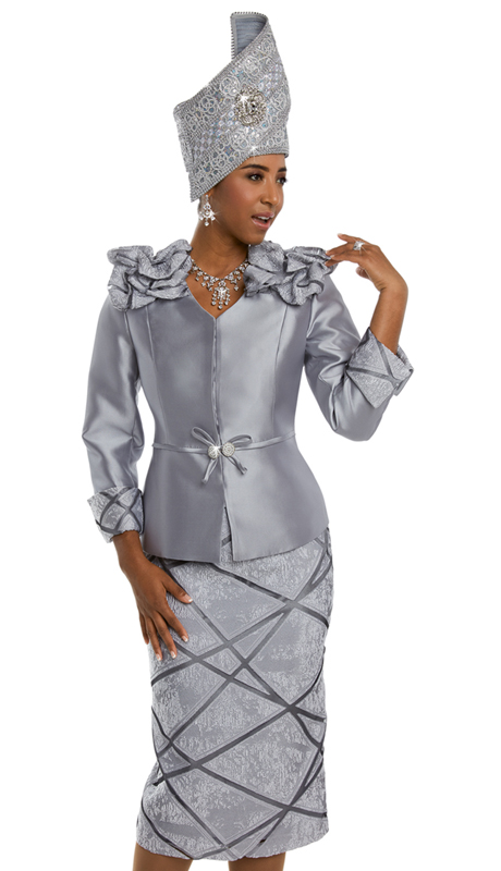 Donna Vinci 5585 ( 2pc Exclusive Novelty and Silk Women's Sunday Suit With Rhinestone Buckle )