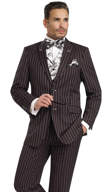 Mens Suits By EJ Samuel M2708-BLK ( 3 Piece, Pin Stripe, Single Breasted, 2 Button, Peak Lapel, 3 Flap Pocket, Side Vents, Spiral Tapestry Print Vest, Super 150s )