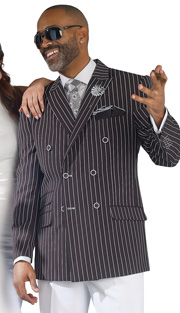 Mens Suits By EJ Samuel M2707-BLK ( 2 Piece Stripe Summer Style, Double Breasted, Side Vents, 3 Flap Pocket, White Pleated Pant, Super 150s )