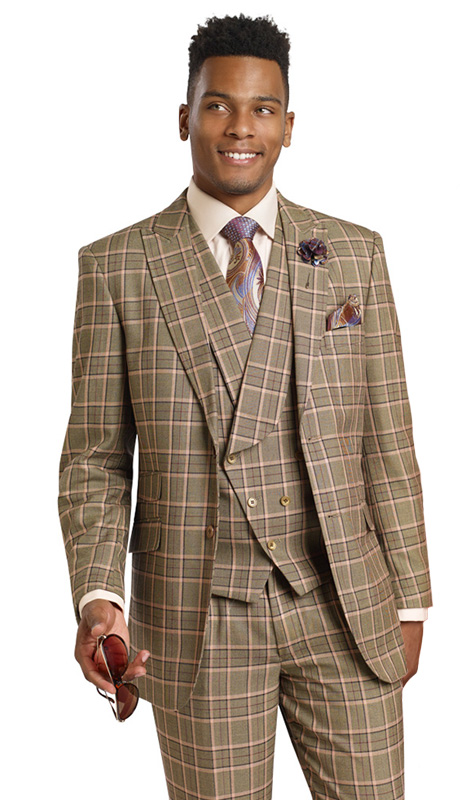 Mens Suits By EJ Samuel M2706-TA ( 3 Piece Classic 1920s Style, Vintage Double Breasted, Pleated Matching Pant, Wool Touch )