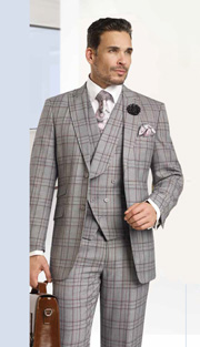 Mens Suits By EJ Samuel M2706-GRA ( 3 Piece Classic 1920s Style, Vintage Double Breasted, Pleated Matching Pant, Wool Touch )