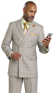 Mens Suits By EJ Samuel M2704-OL ( 2 Piece, Vintage Plaid Style, Double Breasted, Flap Pockets,Side Vents, Lapel Buttonhole Stitch, Super 150s )