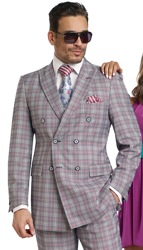 Mens Suits By EJ Samuel M2704-NA ( 2 Piece, Vintage Plaid Style, Double Breasted, Flap Pockets,Side Vents, Lapel Buttonhole Stitch, Super 150s )