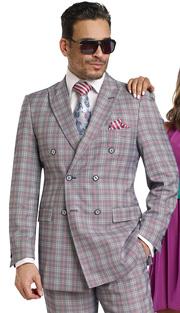 Mens Suits By EJ Samuel M2704-NA ( 2 Piece, Vintage Plaid Style, Double Breasted, Flap Pockets,Side Vents, Lapel Buttonhole Stitch, Super 150s )