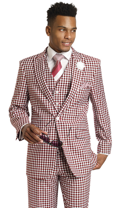 Mens Suits By EJ Samuel M2703-BUR ( 3 Piece Checked Pattern,  1 Button Jacket With 3 Flap Pockets, 6 Button Vest, Matching Pleated Pant, Super 150s )