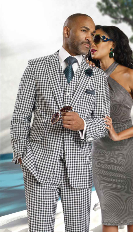 Mens Suits By EJ Samuel M2703-GRE ( 3 Piece Checked Pattern,  1 Button Jacket With 3 Flap Pockets, 6 Button Vest, Matching Pleated Pant, Super 150s )