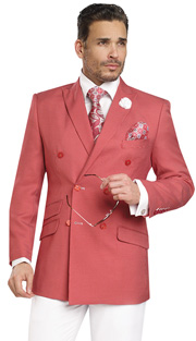 Mens Suits By EJ Samuel M2702-RE ( 2 Piece Summer Style Nailhead Pattern, Double Breasted, 3 Flap Pocket, White Pleated Pant, Super 150s )